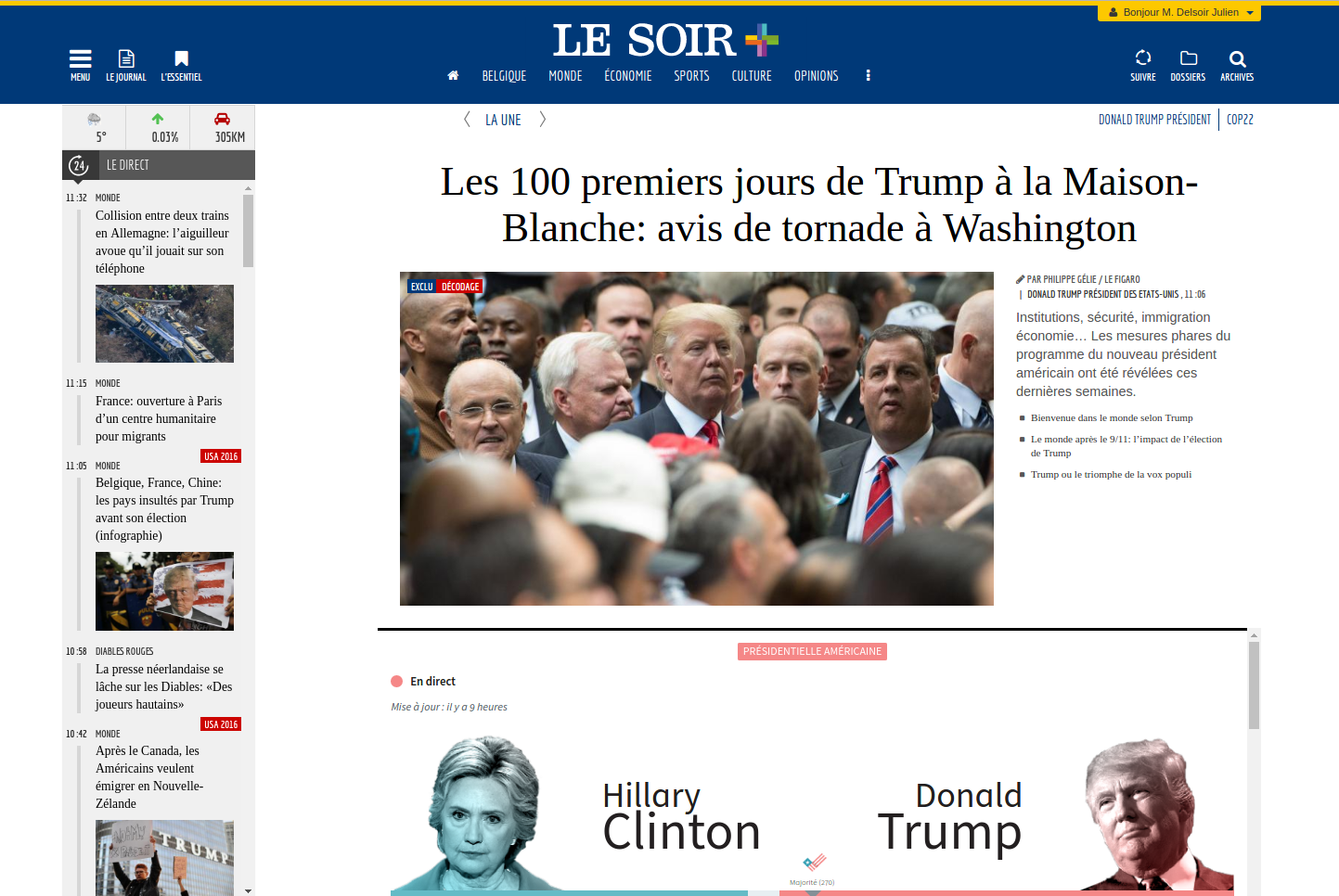 Elections USA 2016: record d'audience sur lesoir.be